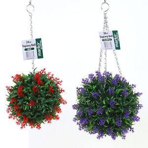 Artificial Purple Lavender Hanging Topiary Ball Flower Plant Decor Basket Pot