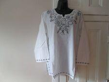Ladies Ethnic Indian Embroidered Sequin Boho Hippy Top Kurta Tunic White Grey