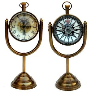 Nautical-Maritime-Antique-Table-Clock-With-Brass-Stand-Hanging-Desk-Decor-Watch