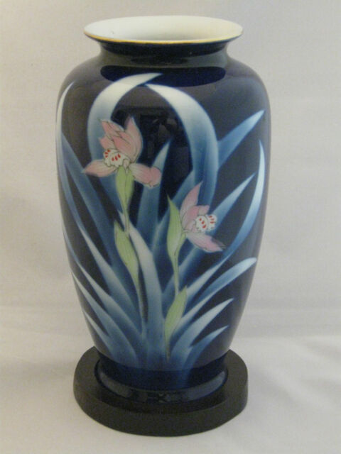 Vintage Fl Blue Cobalt Vase Made In An Matching Display Stand