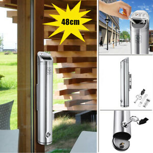 48CM-Alloy-Outdoor-Cylinder-Wall-Mounted-Ashtray-Cigarette-Ash-Bin-Lockable