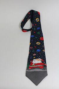 Hallmark-Santa-Blowing-Ornament-Bubbles-Yule-Tie-Greetings-Necktie-Black-Tie