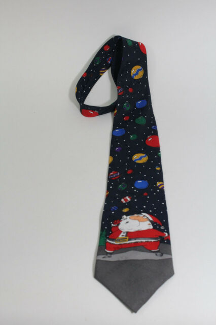 Hallmark Santa Blowing Ornament Bubbles Yule Tie Greetings Necktie Black Tie