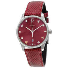 03812886c91 Gucci G-timeless Red and Green Nylon Dial Ladies Leather Watch ...