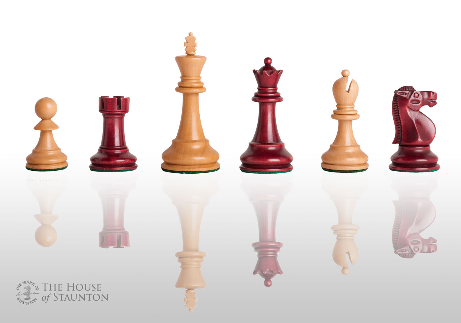 The Reykjavik II Chess Set - Pieces Only - 3.75  King - Red Mahogany Gilded