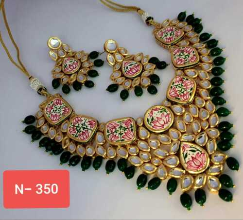 Vergoldet Choker Bollywood Indisch Kundan Ethnisch Grün Kette Ohrringe Set E2