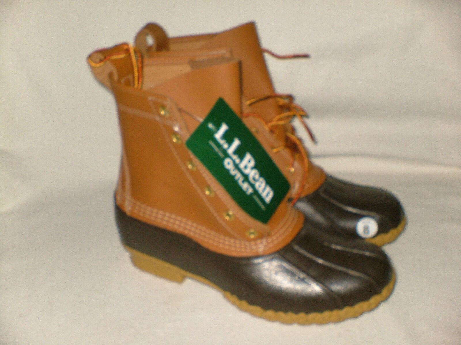 LL Bean Womens 8  Leather Duck Boots Beige Beige Beige Tan Brown Sz 7 fits Sz 8 Medium New 049785