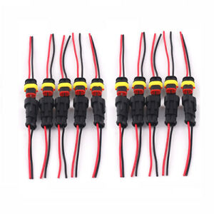10-Set-2-Pin-2-Way-Car-Boat-Waterproof-Electrical-Connector-Plug-Wire-AWG-Marine