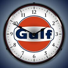 NEW GULF RETRO ADVERTISING  BACKLIT LIGHTED CLOCK - FREE SHIPPING*