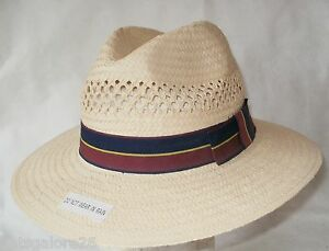 188e61f9c Details about Fedora hat WIDE 8CM BRIM 100% PAPER STRAW NATURAL  BURGUNDY/NAVY BAND 3 SIZES