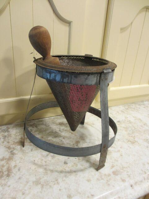 2 Qt Antique Cone Colander On Stand Wood Pestle Vtg
