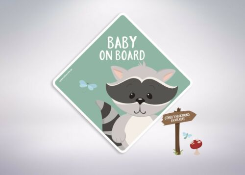 Little Miss Twins Baby on board -Racoon Car Safety Sticker//Kids Misters
