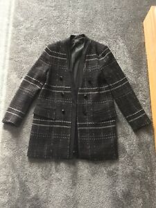 6be8f5ec Image is loading Zara-Basics-Black-Chanel-Inspired-Longline-Coat-Size-