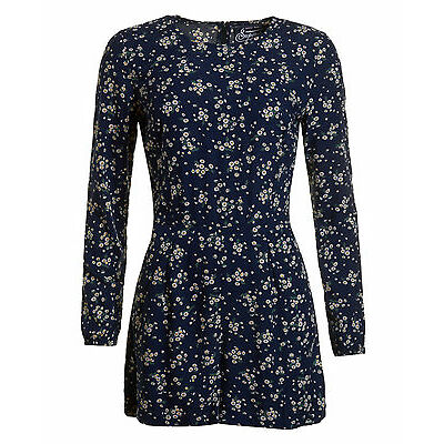 Neues Damen Superdry Gathered Bell Sleeve Playsuit Daisy Dance