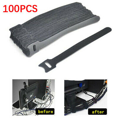 """100 pcs 4/"""" Nylon Fastener Cable Ties Tidy Straps Network Cabling Organizer USA"""