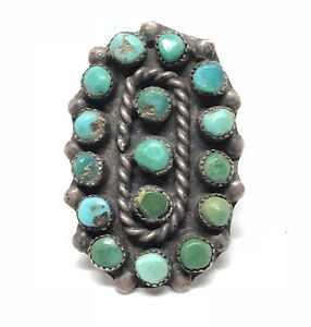 ZUNI-Sterling-Silver-Turquoise-SNAKE-EYE-Old-Pawn-Green-Native-American-Ring-7-5