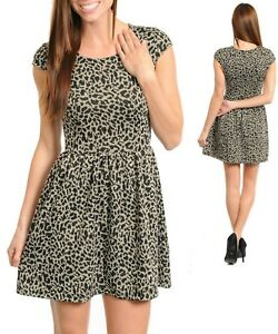 Sz-S-8-10-Khaki-Cap-Sleeve-Leopard-Dance-Cocktail-Party-Casual-Chic-Mini-Dress