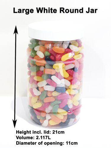 MAXI 15 Jar White Plastic Sweet Jar Set Candy Buffet Wedding Christening Party