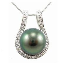 10-11mm Authentic Tahitian Black Pearl 2.10g 925 Silver Pendant