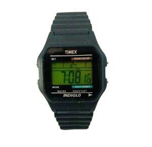 New Vintage Timex Mens Watch Wristwatch Indiglo 90's Digital Alarm Black Sport
