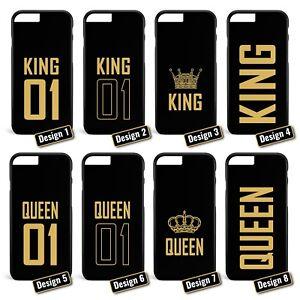 King-amp-Queen-schwarz-Paerchen-Handyhuelle-Apple-iPhone-5-6-7-Galaxy-S5-S6-S7