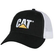 0cb4396c26e Caterpillar CAT Equipment Trucker Black   White Twill Mesh Snapback Cap Hat