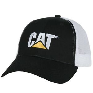 98586791 Image is loading Caterpillar-CAT-Equipment-Trucker-Black-amp-White-Twill-