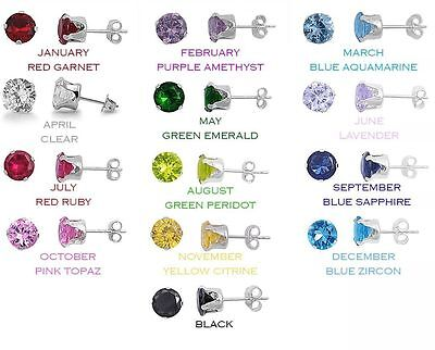 925 Sterling Silver Round CZ Birthstones Stud Earrings