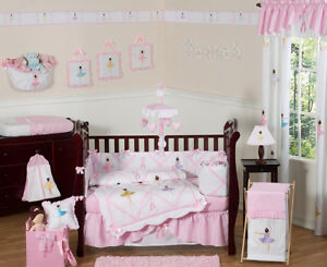 Details about Unique Pink and White Ballet Ballerina Baby Girl 9p Crib  Bedding Comforter Set