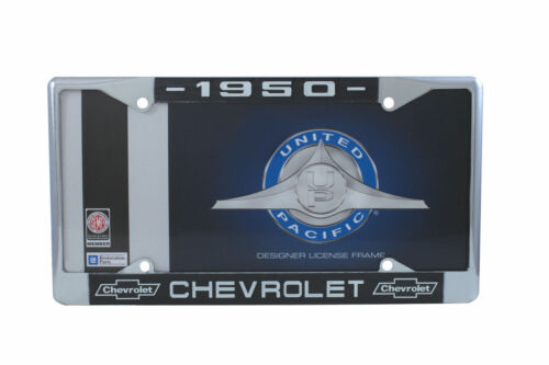 1950 Chevy Chrome License Plate Frame with Chevrolet Bowtie Blue White Script