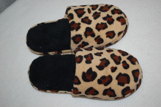 Womens Indoor Slippers BROWN LEOPARD