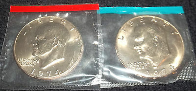 1974 IKE EISENHOWER DOLLAR UNC SET IN CELLO FREE SHIPPING ON ADDITIONAL COINS