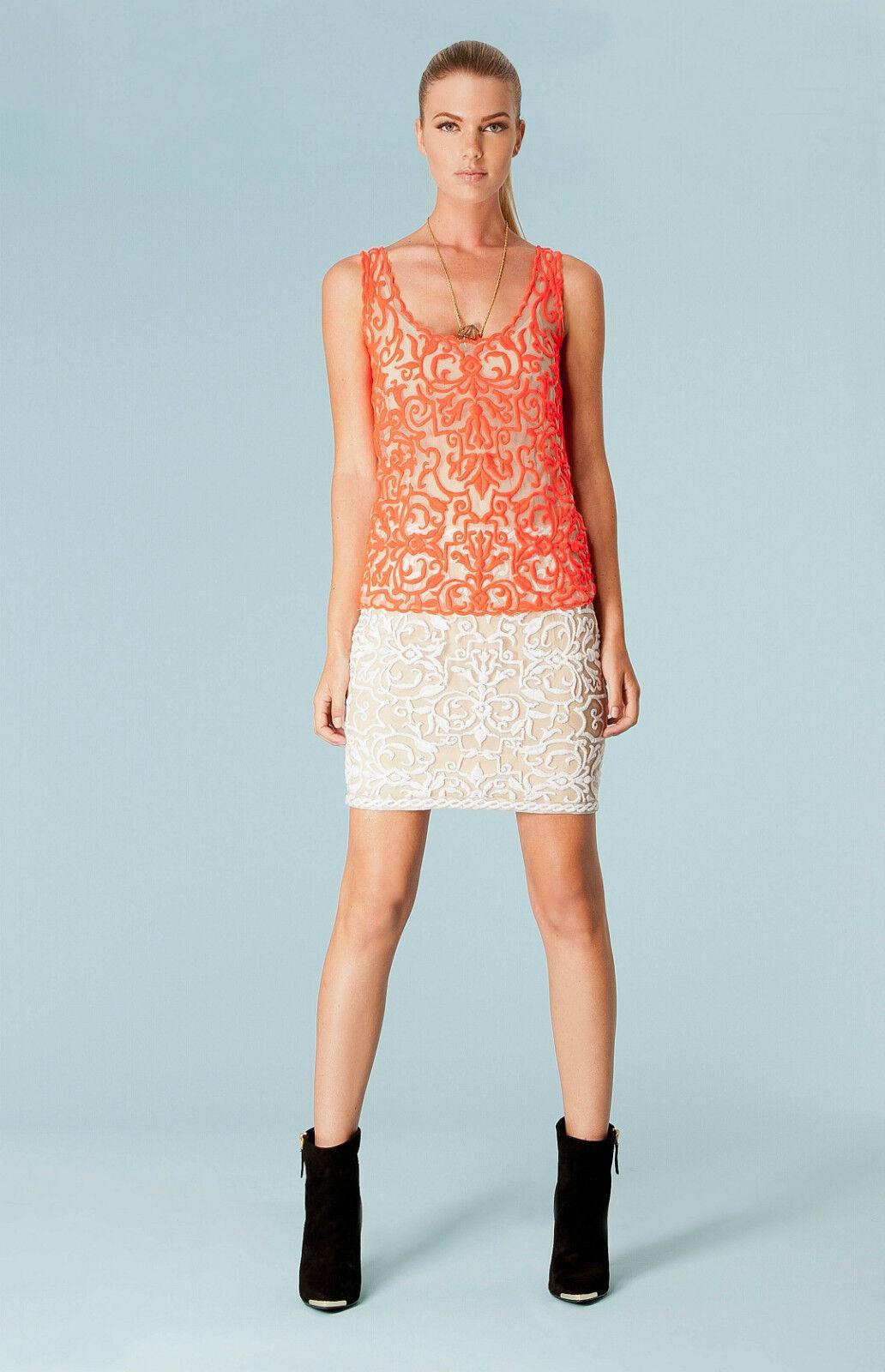 Hale Bob Ivory Embroidered Mesh Mini Skirt S M NWT 3DVA4837