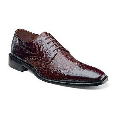 Mens Stacy Adams Shoes Wingtip Crocodile Lizard Print 24823-200 AMATO Brown Sale