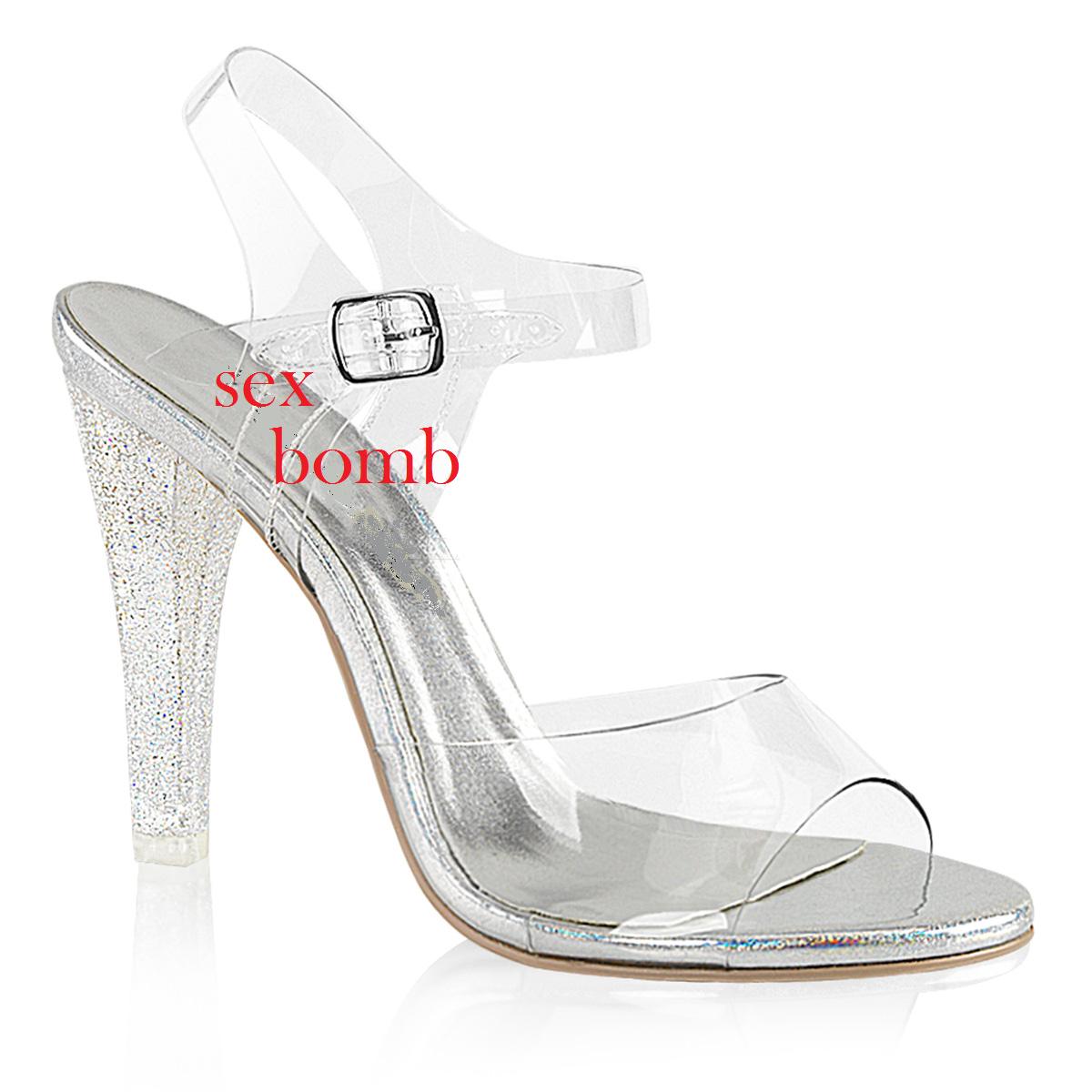 Sexy SANDALI GLITTER tacco 11,5 dal 35 scarpe a 42 TRASPARENTE cinturino scarpe 35 GLAMOUR d5f709