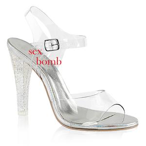 Sexy SANDALI GLITTER tacco 11,5 dal 35 a 42 TRASPARENTE cinturino zapatos GLAMOUR