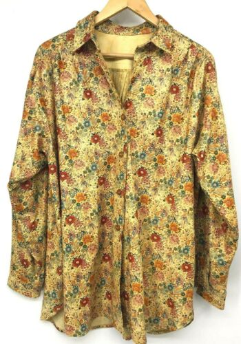 vtg Women's Shirt Button Up Floral Printed Leather