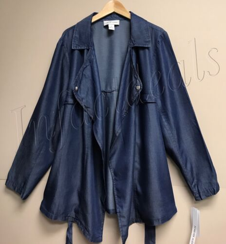 Forever Audrey Women/'s Plus Size 20W 2X Cropped Trench coat Chambray Lyocell