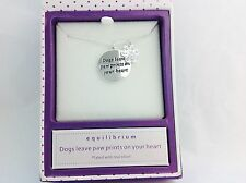 Equilibrium Silver Plated Dogs Leave Paw Prints On Your Heart Necklace Pendant