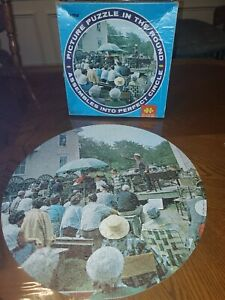 JAYMAR-ROUNDS-POINT-MAINE-jigsaw-Puzzle-Round-COMPLETE-Vintage-Country-Auctio