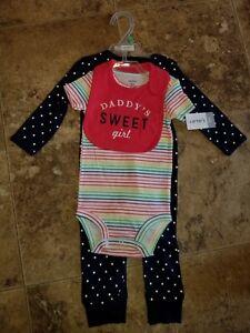 feb4703e477 Nwt Baby Girls Carter s 3 Piece Set Bib Striped Polka Dot Blue ...