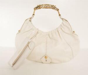 e943a64edea YVES SAINT LAURENT YSL Cream Leather Mombasa Gold Handle Hobo Bag ...