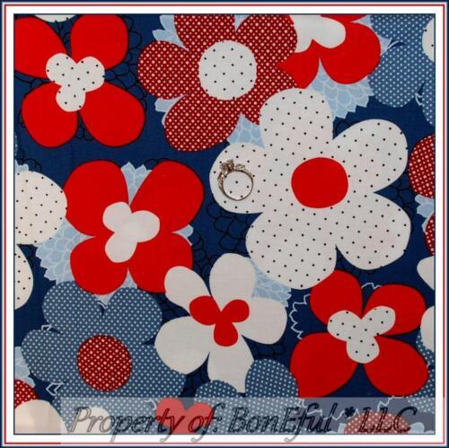 BonEful Fabric FQ Cotton Quilt Red White Blue Retro American Flower Calico Dot L