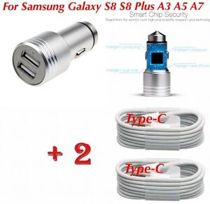 4-Samsung-Galaxy-S8-S9-A3-A5-In-Car-Fast-Charger-amp-2x-Type-C-USB-Charging-Cable