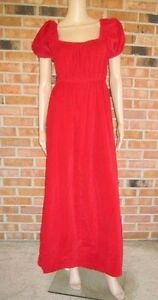 ad87dbe45f Vtg 60s CRUSH Red VELVET Puff Slvs EMPIRE WAIST Evening PARTY MAXI ...