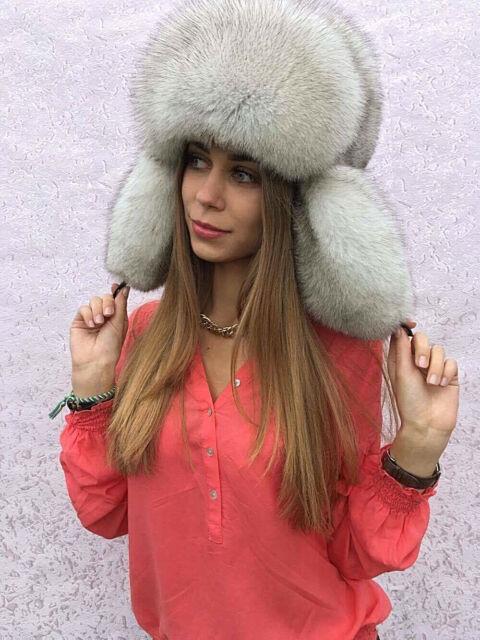 376425f17 Blue Fox Fur Full Ushanka Hat Adjustable Saga Furs Finland Aviator Trapper  Hat.