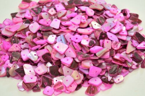 1500 PCS PINK LIP MOTHER OF PEARL SHELL CHARM CHIPS BEADS 1//2 POUND #T-1020