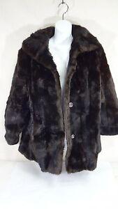 Details about Dubrowsky & Joseph Tissavel Dark Mocha Brown Button Up Faux  Fur Coat Size M/L