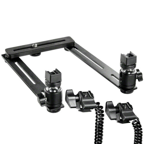 Walimex macro relámpago ferrocarril Basic con 2 bala cabezas y rayo cable para Pentax