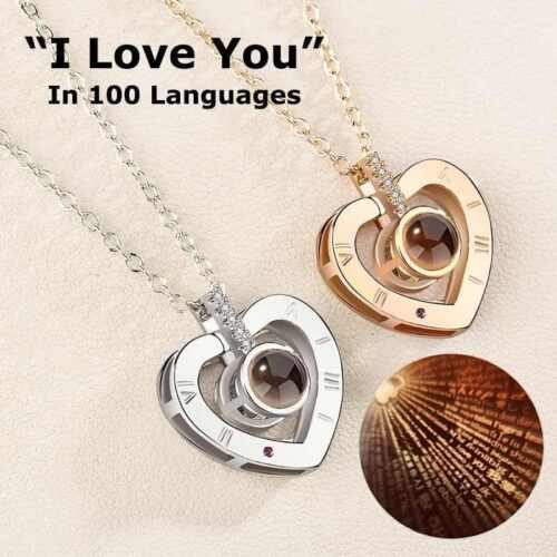 Projection 100 Languages I Love You Charm Pendant Necklace Valentine/'s Day Gift